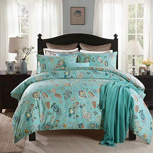 YUY Bettwäsche Set Floral Cotton Bettbezug Set Blau -