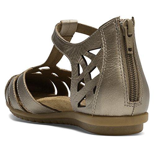 Cobb Hill Women's Ireland T-Strap Sandal, Size: 8.5 Width: WIDE Color: Black Pewter