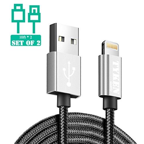 Tyken Nylon geflochten Schnelle Charge Lightning USB Kabel (Space Grau, schnelle Aufladung, Ultra lange, 10ft/3m * 2) Set von 2 (Fragen Usb-wand-ladegerät-kabel)