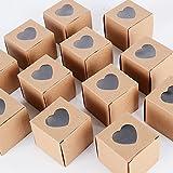 AONER ✤(5*5*5CM) 100PCS Marron Boiboinière Cube avec Ruban Boîte de Bonbons pour Décoration de Mariage Fêtes Baptême Naissance (Marron avec Coeur)