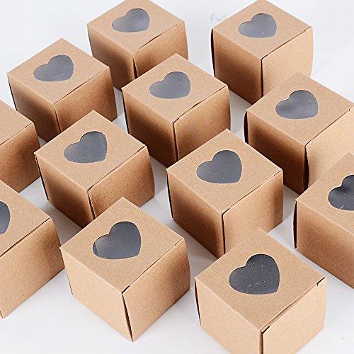 100pz scatoline scatole marrone portaconfetti bomboniere segnaposto regalo per matrimonio nozze laurea battesimo festa compleanno 4.9 * 4.9 * 4.9cm