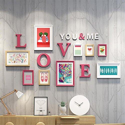 OOFYHOME Holz Wall of Pictures, eine Kombination von 9 Bilderrahmen, die für jedes Haus, einschließlich White Bild Mats (helle Farben) , A (Rahmen 5x7 Mat)