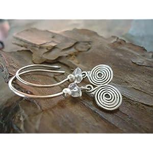 ✿ ZARTE SPIRALE & Naturkristall ✿ Ohrringe