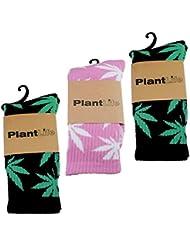 3x Plant Life Calcetines/Medias - Tamaño Unico- 2x Pares negro/verde 1x Par Rosa/Blanco