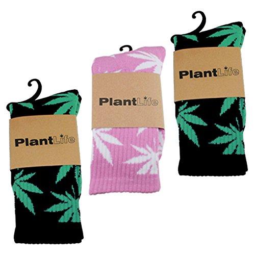 3x Plantlife Socken in universeller Größe // Blitzversand aus deutschem Lager // 2x schwarz/grün 1x pink/weiss