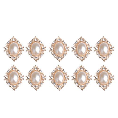 Baoblaze 10er Set Vintage Cabochons Flache Rückseite Flatback DIY Verzierungen Hochzeit Telefon Tischdeko - beige