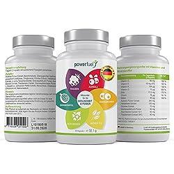 Premium Superfood-Mix 60x Komplex - für reine Haut + Gesundheit - Powerfuel Kapseln mit Traubenkernextrakt OPC + Grüntee & Acai Extrakt - hochwertige Antioxidantien - 100% vegetarisch