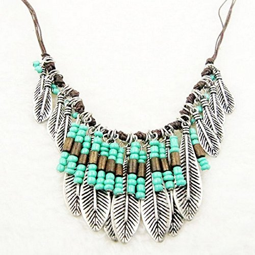 Sunvy Women's Vintage Bohemia Leaf Bead Rope Chain Feather...