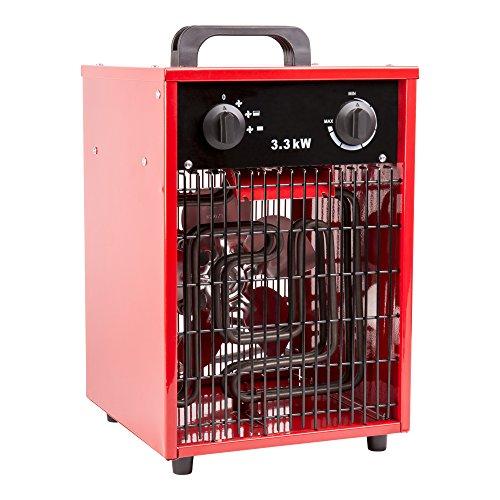 STIER Heizlüfter, Heizleistung von 3,3 kW, Netzspannung 220-240 V / 50-60 Hz, Luftleistung 380 m³ / h, 3 -