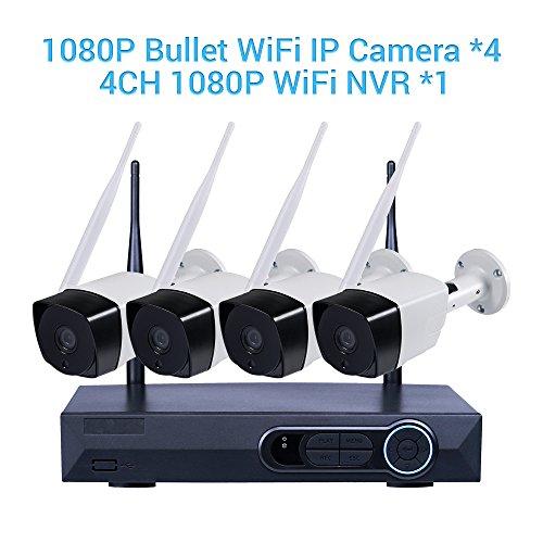 Videoüberwachung Kamera, MASIONE Überwachungskamera wasserdicht 1080P 4CH NVR Sicherheit 4PCS 2.0 Megapixel Indoor-/Outdoor IP Wlan Kamera Kits Wireless IR Nachtsicht bis zu 90ft Samsung-kameras Wifi