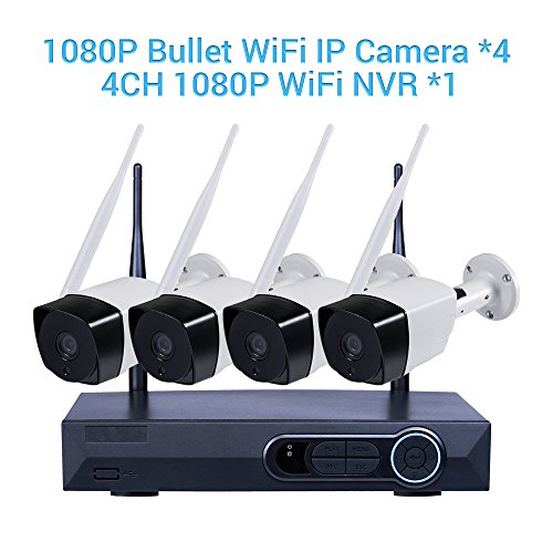 Video-Vigilancia-Cmara-Masione--Vigilancia-Impermeable-1080P-4-CH-NVR-Seguridad-4pcs-20-Mega-Pixeles-de-interiorexterior-IP-WIFI-Cmara-Kits-Wireless-IR-visin-nocturna-hasta-90-Ft