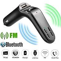 Bluetooth Auto Audio FM Reproductor de MP3 Receptor USB Entrada Transmisor FM Bluetooth de Manos Libres Cargador con Audio, Ranura para Tarjeta del TF para Coche Sannysis (Negro)