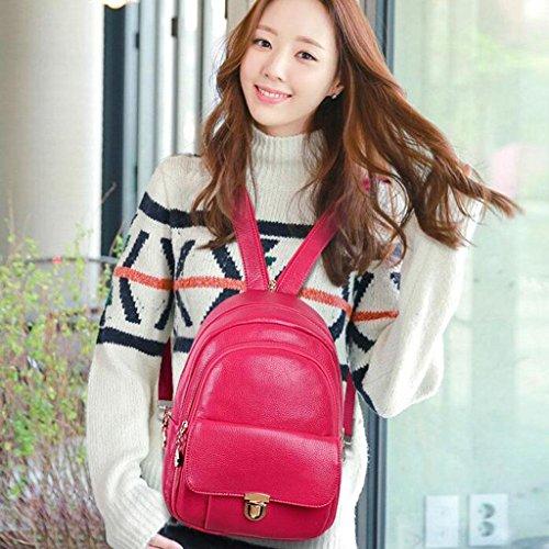 Y&F Rucksack Ledertasche Weiche Handtasche Schultertaschen 25 * 15 * 33 Cm Pink