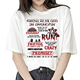 Camiseta Stranger Things Niña, Camiseta Stranger Things Mujer, Impresión T-Shirt Abecedario Camiseta Stranger Things Temporada 3 Camisa de Verano Regalo Camisetas y Tops