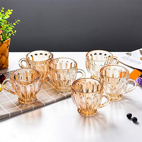 Tasses à thé en Verre résistant à la Chaleur Tasse à déjeuner Tasses à jus Verres à bière Verres à bière Whisky Glass Gold B Ensemble de 6