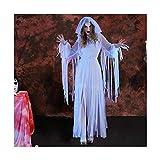 KAIDILA Halloween Kostüm weiblichen Geist Braut Lange weiße Zombie-Vampir Geist Rolle Spielen Kostüm