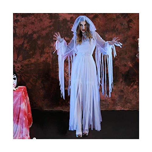 KAIDILA Halloween Kostüm weiblichen Geist Braut Lange weiße Zombie-Vampir Geist Rolle Spielen Kostüm (19 Halloween-kostüme Jahre Den Alten Für)
