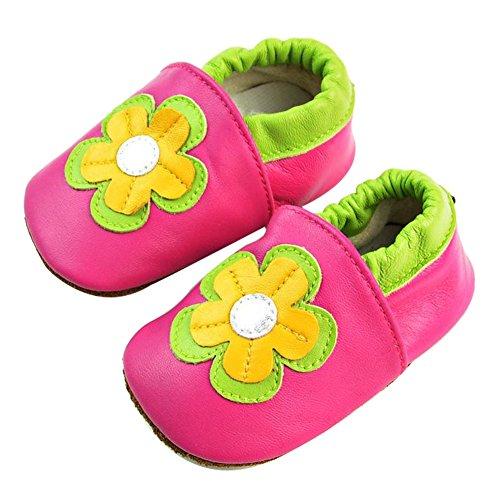 Tongchou Weiches Leder Babyschuhe Lauflernschuhe Krabbelschuhe Madchen Junge Unisex Blume 12-18 Monate (Leder-schuhe Weiche Blumen)