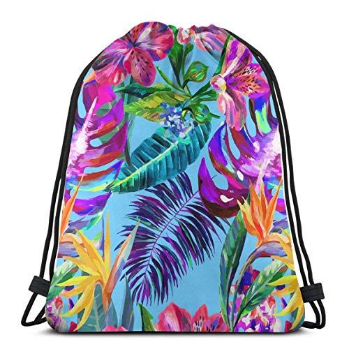 best gift Island Style Floral Summer Drawstring Bags Gym Bag Backpack Shoulder Sackpack 16.9x14 inch -
