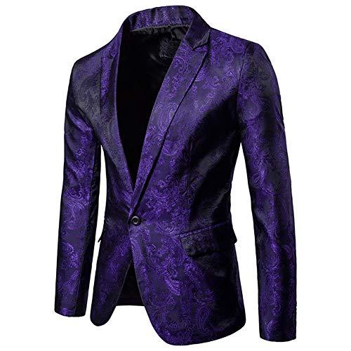 Herren Business Anzug One Button Slim Fit Blazer Jacke Bling Bling (l, lila)