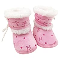 EFINNY Newborn Baby Soft Sole Crib Shoes Infant Toddler Anti-Slip Boots Cute Furry Winter Warm Prewalker Booties for 0-18 Months