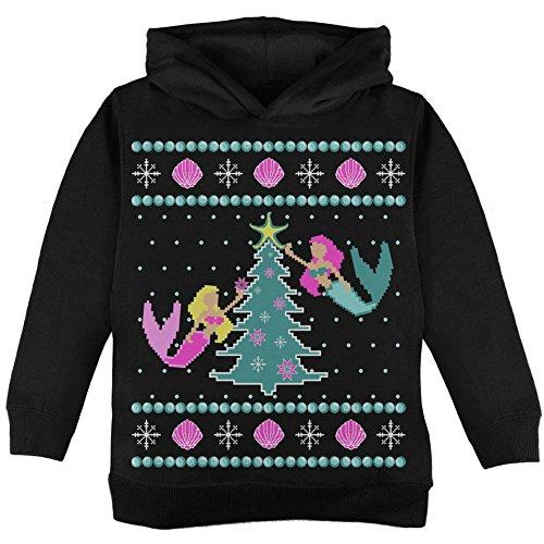 Mermaid Tree hässlich Weihnachten Pullover Kleinkind Hoodie schwarz 2T