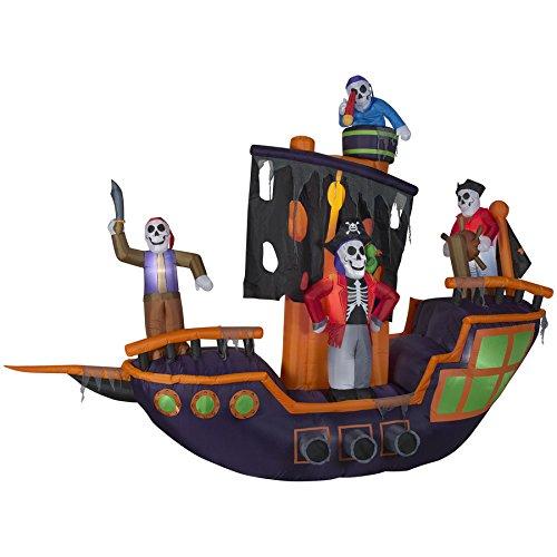 Gemmy Funkelndes Halloween erleuchtet Piratenschiff aufblasbar Indoor/Outdoor Urlaub Dekoration
