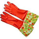Red Rubber Washing Up Gloves Large Size with Extra Long Flower Printed Cuffs