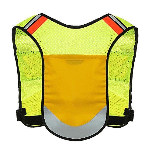 jhua Warnweste Sicherheit mit Taschen für Laufen/Radfahren/Joggen High VISIBLITY bei Nacht und bequemer Verstellbarer Passform für Damen/Herren Gelb