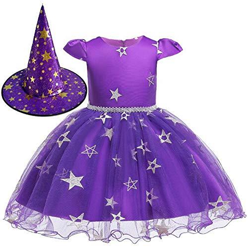 Kostüm Hexe Kleinkind Lila - C&NN Kleinkind Kinder Prinzessin Kleid Hexe Halloween Cosplay Kostüm Mädchen Ostern Kleider Party Kleider,Lila,90cm