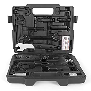 Maletín de herramientas para bicicletas Gregster en color negro, herramienta para bicicletas con maletín de plástico para montaje y reparación, juego de herramientas para bicicleta de 26 piezas