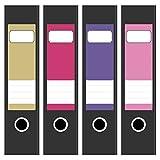 4 x farbige Design Akten-Ordner Etiketten/Aufkleber/Rücken Sticker/Farben im Mix Peppige Farben/für breite Ordner/selbstklebend / 6cm breit