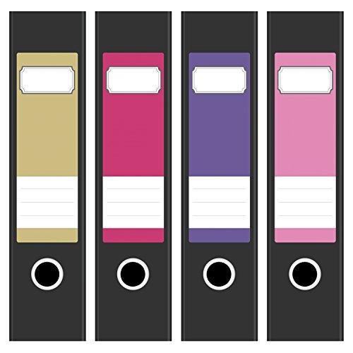 4 x farbige Design Akten-Ordner Etiketten / Aufkleber / Rücken Sticker / Farben im Mix Peppige Farben / für breite Ordner / selbstklebend / 6cm breit