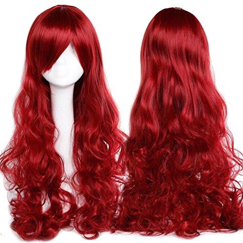 60cm-100cm Cosplay Perücke Lang Karneval Perücke Rot Curly Synthetic Wig Kunsthaar Anime (Kostenloser Versand Günstige Perücken)