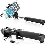 Saxonia Palo Selfie Stick con el cable AUX Botón Cámara Disparador Integrado (sin Bluetooth y la batería) | Universal Smartphone Autorretrato Soporte Extensible Negro
