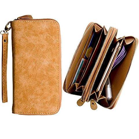 CellularOutfitter Dual Zipper Suede Phone Clutch/Wallet Case w/ Matching Detachable Wristlet - Brown