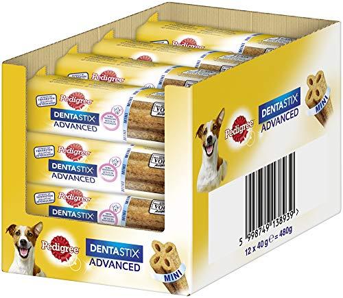 PEDIGREE DentaStix Advance 2X Wöchentlich Hundeleckerli für kleine Hunde <10kg, Kausnack mit Huhn- & Rindgeschmack gegen Zahnsteinbildung, 12 Stück (12 x 40g), 480 g