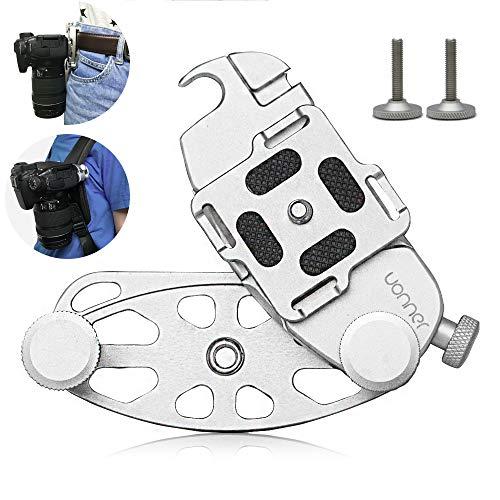 UONNER Quick Release Clip Plate Kamera Gürtel Kameragurt Taille Schnalle 1/4'' 3/8'' Kamerahalterung Spider blau mit Standard-Platte für Canon Nikon Sony DSLR-Kameras Gopro Backpack Mount