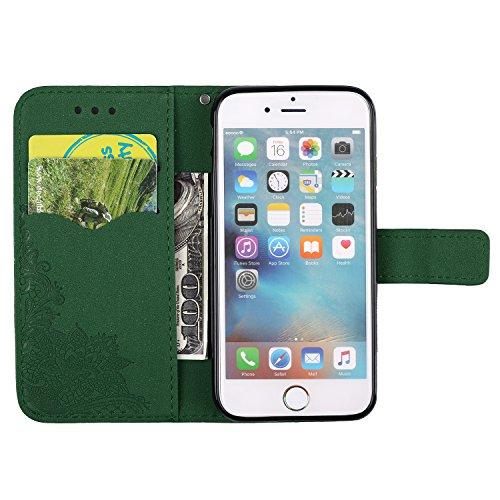 iPhone 6 / 6S Plus (5.5 Zoll) hülle , PU Leder Tasche Stil Schutz Geldbeutel Schale Kunstleder Flip Case mit Standfunktion und Kartenfächer Die Hohe Anfire der Qualität Cover für iPhone 6 Plus - Rot Grün