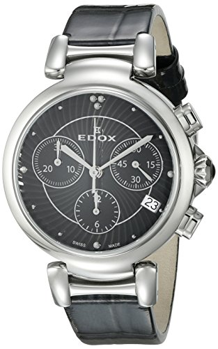 Edox Women's 10220 3C NIN LaPassion Analog Display Swiss Quartz Black Watch