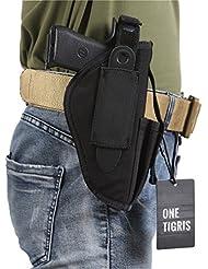 OneTigris funda con pistola/Holster de cinturón táctico para el cazador diestros y zurdos, negro