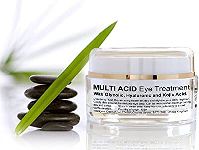 Anti Ageing Eye Gel Serum with Glycolic Acid Hyaluronic AHA, Kojic Acid, 4% Vitamin C and 3% Glycolic, Multi Acid Eye Treatment Brighten Tighten Skin, Wrinkle Free Eyes, Supplied in Large Acrylic Jar Containing 15ml of Gel