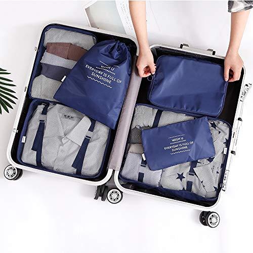 U2C 6 Stück Packwürfel Reisegepäck Organizer Set Clothe Storage Bag Wasserdicht Mesh Kompression Multifunktionale platzsparende Aufbewahrungstaschen mit Schuh & Kulturbeutel Navy - 6k Warenkorb