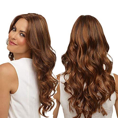 Perruques Naturelles Mode Synthétique Longue Cheveux Bouclés Ondulée Brun Teinture à Gradient wiwigs 25.6 pouces/65 cm Rousse Qualite