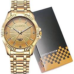 CHENXI Men's Fashion Classic Quartz Analogue Steel Gold Wrist Watch(Gold)
