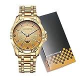 CHENXI Herrenmode Klassische Quarz Analog Stahl Gold Armbanduhr (Gold)