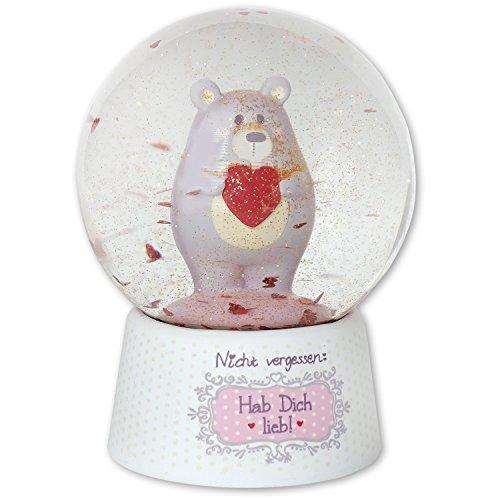 umkugelNicht vergessen: Hab Dich lieb, Geschenk-Schneekugel aus Glas, Höhe ca. 10, 5 cm, Mehrfabrig, 7.5 x 7.5 x 10.5 cm (Schneekugel Figuren)