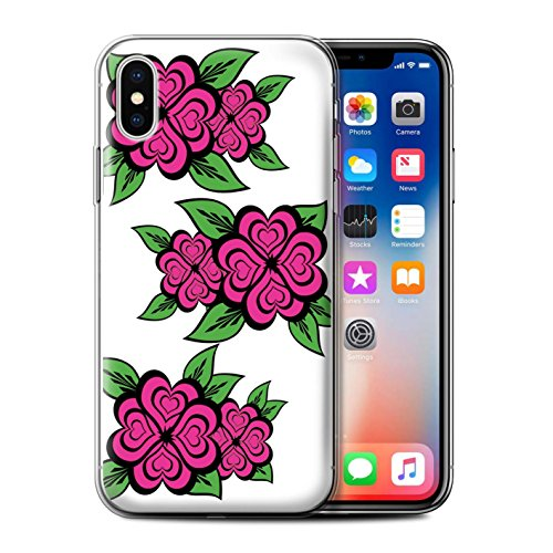 Stuff4 Gel TPU Hülle / Case für Apple iPhone X/10 / Schwarz/Rot Muster / Liebe Herz Rosen Kollektion Weiß/Rosa