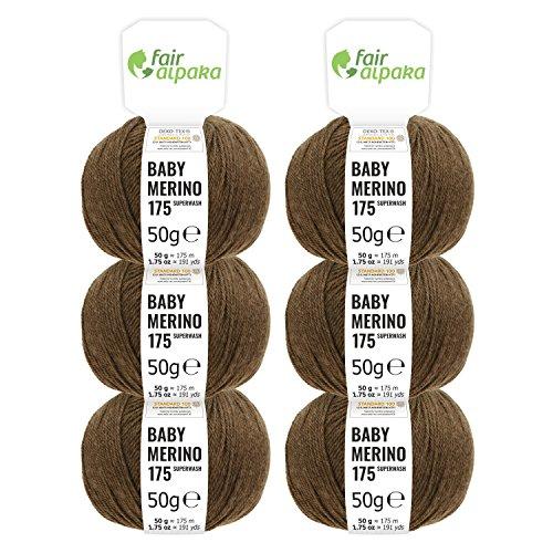 100% Merinowolle extrafine superwash in 35+ Farben (kratzfrei) - 300g Set (6 x 50g) - Baby Merino Wolle zum Stricken & Häkeln in 4 Garnstärken - Braun - Baby-merino-wolle