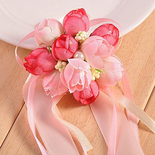 20 pezzi braccialetto di fiori per sposa damigelle inviti allacciato al polso (rosa)